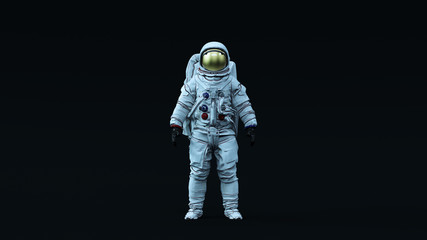 Astronaut with Gold Visor and White Spacesuit with Neutral Light Blue Diffused lighting Front 3d illustration 3d render Fototapete