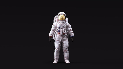 Astronaut with Gold Visor and White Spacesuit with Neutral White lighting Front 3d illustration 3d render Fototapete