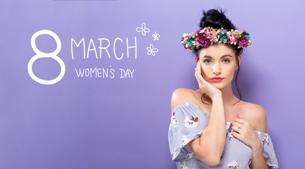 Womens Day message with beautiful young woman with a garland