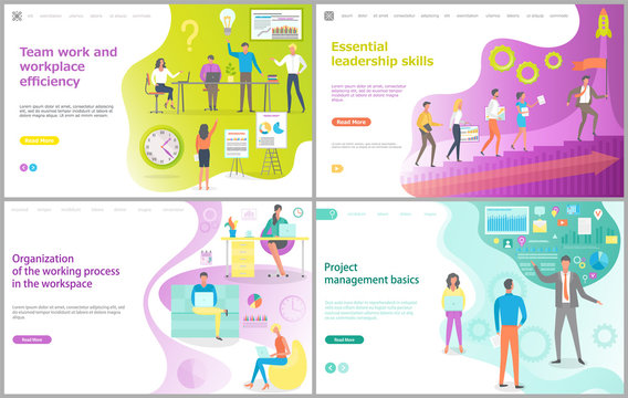 Teamwork and workplace efficiency, essential leadership skills, organization of the working process, project management basics, graphic presentation vector. Website template, landing page flat style