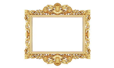 Classic Retro Old Gold Photo or Painting Frame in White Isolated Background