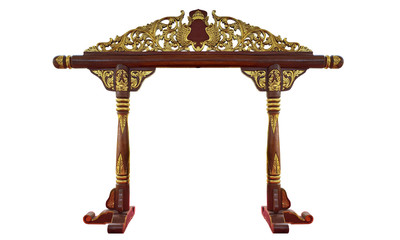 Indonesian Javanese Traditional Gamelan Music Instruments in White Isolated Background