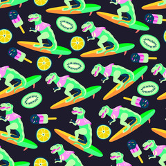 Vector illustartion of a dinosaur surfer with fruits and ice cream. Seamless pattern that can be used for wrapping, fabric, textile and interior decor. Summer theme background.