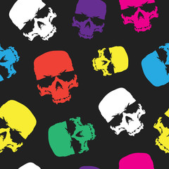 Skulls seamless pattern background, color skull grunge design for textiles, wrapping paper and printing products