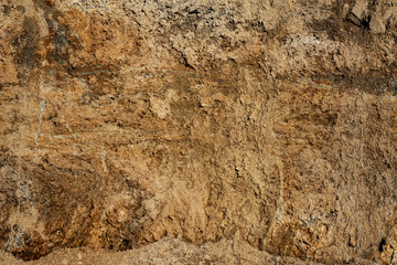 the soil with different layers close up