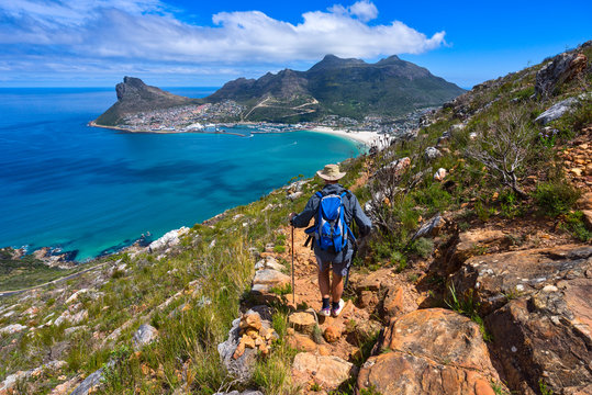 Man Hiking towards Hout Bay, Cape Town, Western Cape, South Africa