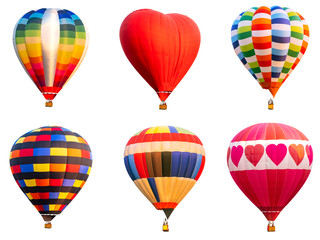 Poster de jardin Montgolfière / Dirigeable Collection of colorful hot air balloon on isolated 2