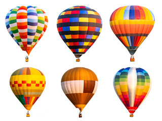 Photo sur Aluminium Montgolfière / Dirigeable Collection of colorful hot air balloon on isolated 1