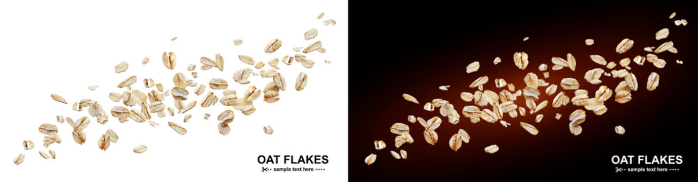 Flying oat flakes isolated on white and black backgrounds