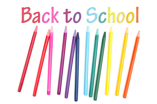 Back to School message with colored watercolor pencils