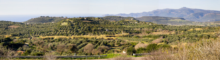 Panoramic view of the country side of Sardina island, Italy with mountanis, sea , houses and olive trees.