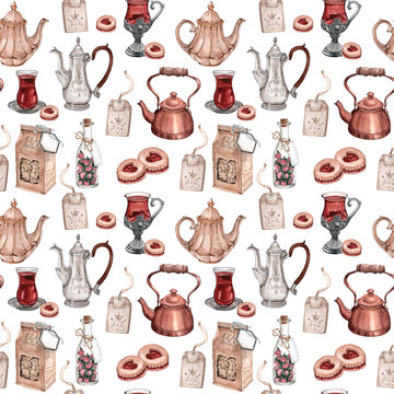 Watercolor seamless pattern of tea party elements with cups, teapots, cookies and other