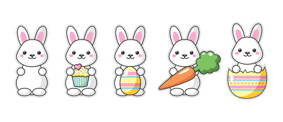 Set of cute kawaii Easter bunnies with carrot, sweet and egg. Beautiful Kawaii vector illustration for greeting card/poster/sticker.