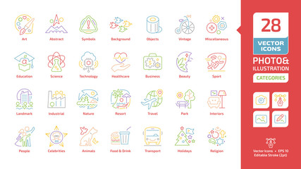 Vector categories and themes editable stroke color line icons for photo and illustration with education, science, technology, healthcare, business, holidays, religion sections outline colorful symbols
