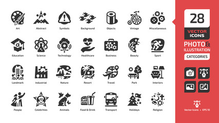 Vector category and theme icon for photo and illustration with art, abstract, background, object, vintage, miscellaneous, education, science, technology, healthcare, business, beauty, sport class sign