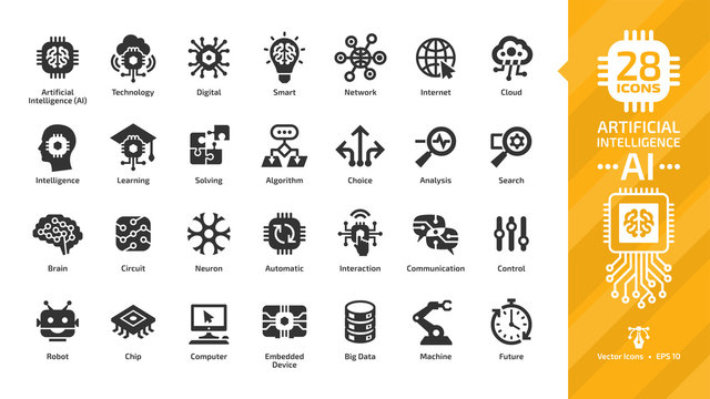 Vector artificial intelligence glyph icon set with machine learning, smart robotic and computer network digital AI technology: intelligent tech, brain circuit chip, cloud computing and internet sign.
