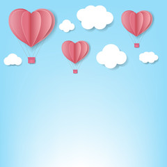 Paper Hearts With Cloud Blue Background