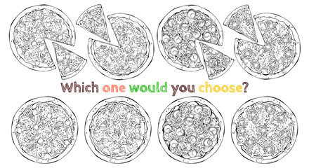 Set of different kinds of vector pizzas. Sketch.