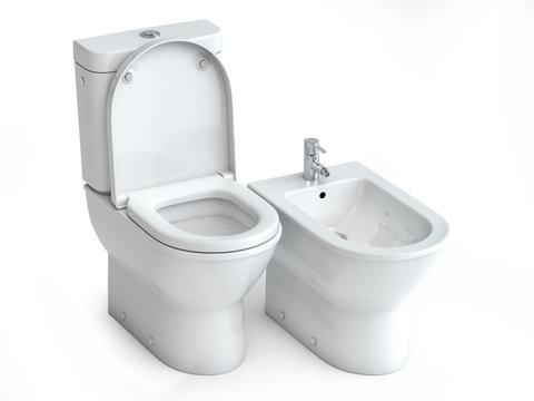 Toilet bowl  and bidet on white isolated background.