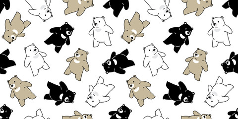 Bear seamless pattern vector polar bear scarf isolated cartoon repeat wallpaper tile background doodle illustration