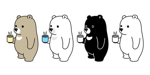 Bear vector Polar Bear coffee tea cartoon character icon logo illustration doodle symbol