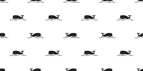 whale Seamless pattern fish vector shark dolphin salmon scarf isolated ocean sea cartoon repeat wallpaper tile background doodle illustration