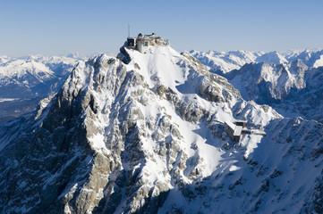 flight over mountain zugspitze, tyrol, austria, Ggermany Wall mural
