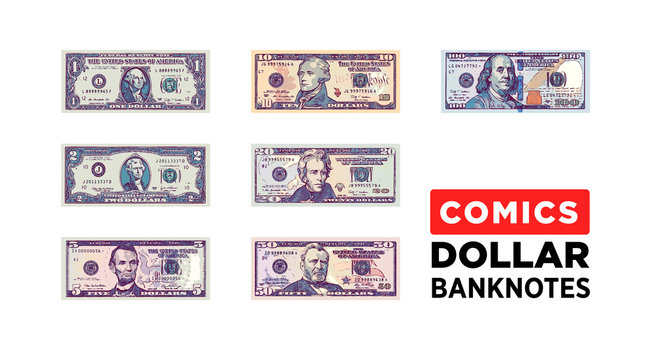 Dollar money comics style paper banknotes of USA - vector one size, business art illustration