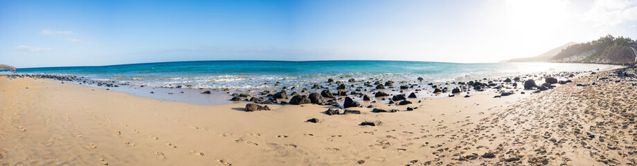 Panorama of the sandy beach on the Canary Islands