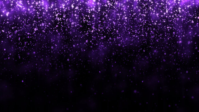 Luxury background with glitter falling purple particles. Beautiful holiday light background template for premium design. Falling shiny magic particle with light