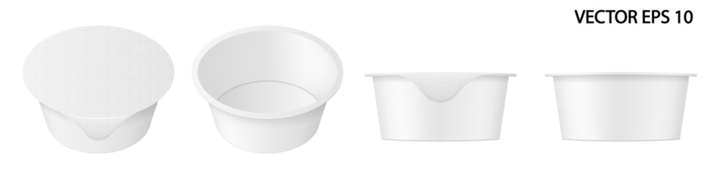Vector set of realistic images (mock up, layout) of open and closed plastic packaging (cup) for yogurt or other food, isolated on white. Front view and perspective view. EPS 10.