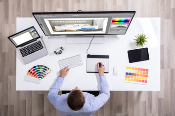 Graphic Designer Working On Graphic Tablet