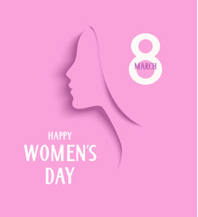 Womens Day 8 March design template. Decorative woman silhouette on pink background. Vector illustration