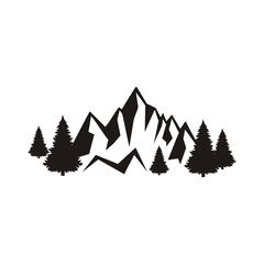 Silhouette of mountains and forest