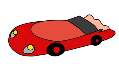 Illustration of a red sports car on a white background