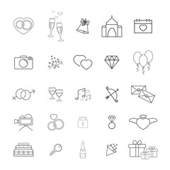 Collection of the wedding thin line icons