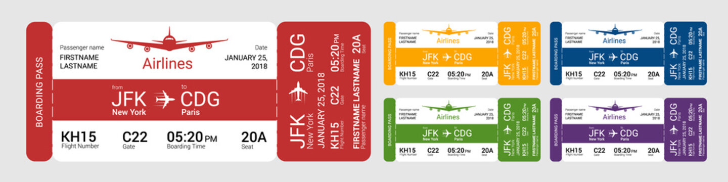 Set of different boarding pass isolated on a gray background. Vector illustration.
