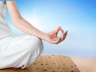 Wall Mural - Meditation relax yoga background beach body calm