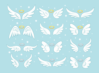 Sparkle angel fairy wings with gold nimbus, halo isolated on background. Vector cartoon design.