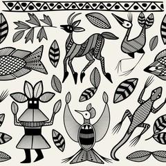 African Senufo Korhogo Tribal Ethnic Art Seamless Pattern