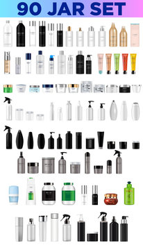 Big set vector blank templates empty and clean multicolor plastic and glass containers:  bottles with spray, dispenser and dropper, cream jar, tube.  Realistic 3d mockup of cosmetic package. Vector il