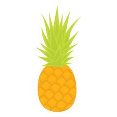 Pineapple isolated on white background. Cartoon pineapple. Vector illustration.