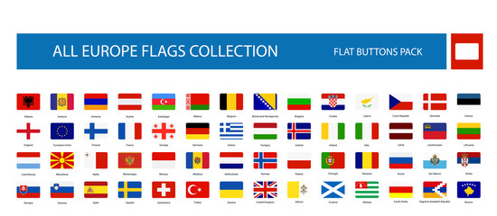 All Europe Flags round rectangle flat buttons isolated on white