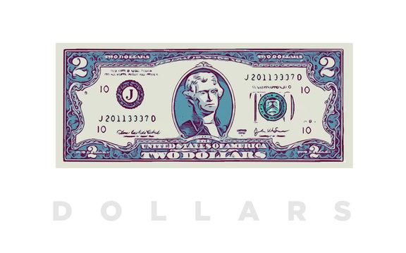 2 Dollars money comics paper banknotes of USA - vector business art illustration