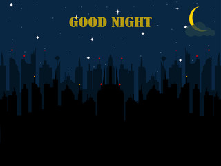 Night city background. Dark urban scape. Town in evening. Cityscape. Vector flat illustration