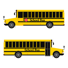 Yellow school bus in two view with stop sign isolated on white background. Vector flat design