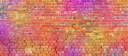 Colorful brickwork texture. Colored brick wall background