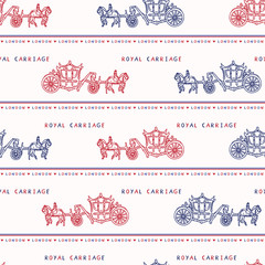 Sketchy London Royal Carriage seamless vector pattern. Famous historical british symbol for travel vacation wallpaper, british uk sightseeing all over print. horse drawn queen ride in red blue white.