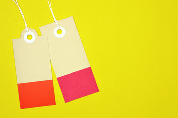 rectangle paper tags on yellow background