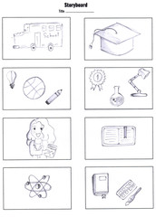 Drawing storyboard designer development animation comic carton in school, Pre-production for film movie story about study in classroom, item, people in education concept  design creative scene layout